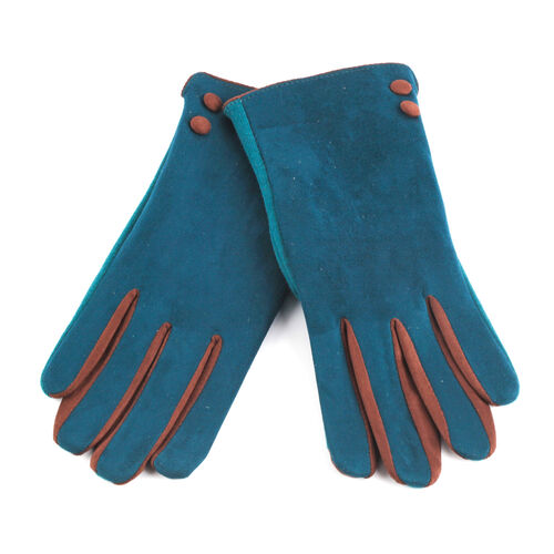 Green and Brown Colour Felt Gloves (Size 23 Cm)