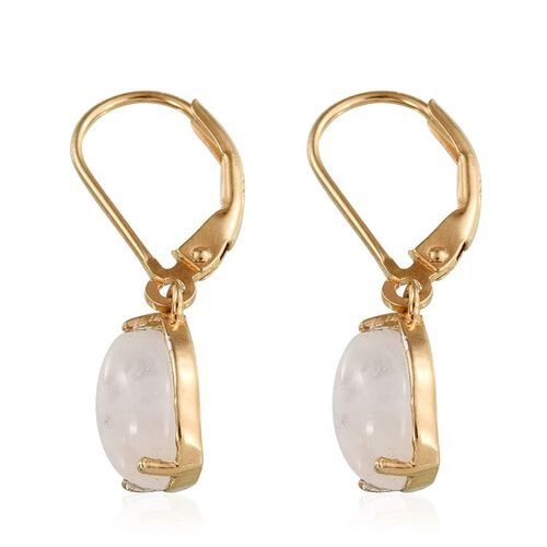 Natural Rainbow Moonstone (Pear) Earrings in 14K Gold Overlay Sterling Silver 4.750 Ct.