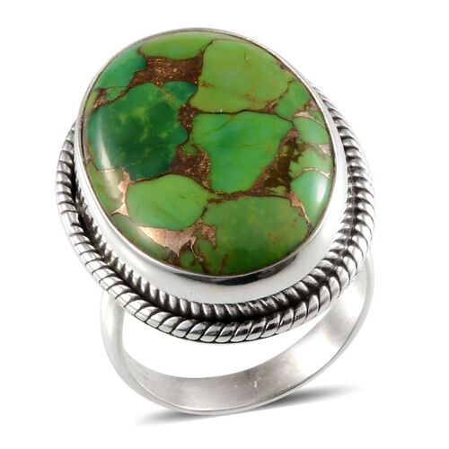 Jewels of India Green Copper Turquoise (Ovl) Solitaire Ring in Sterling Silver 20.430 Ct.
