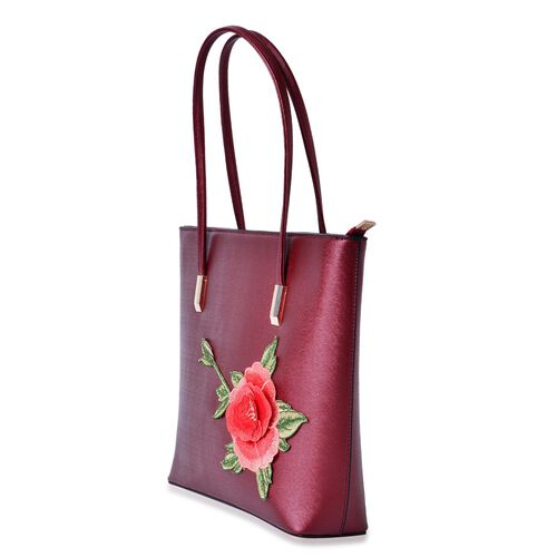 3D Floral Pattern Red Colour Tote Bag (Size 36x28x8 Cm)