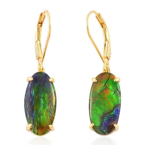 AA Canadian Ammolite (Ovl) Lever Back Earrings in Yellow Gold Overlay Sterling Silver 6.500 Ct.