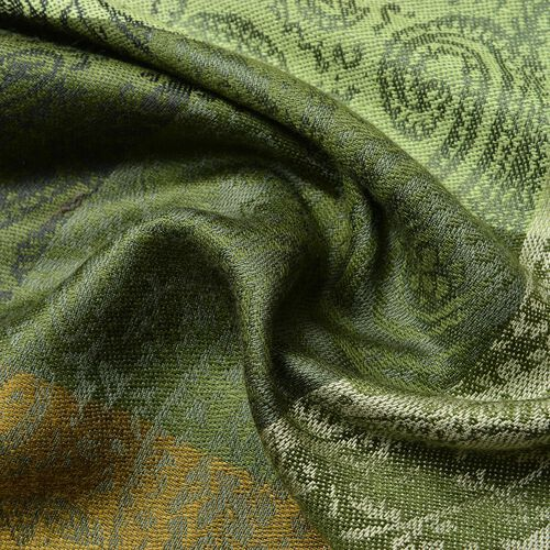 Light and Dark Green Colour Checks and Paisley Pattern Scarf with Tassels (Size 180X65 Cm)