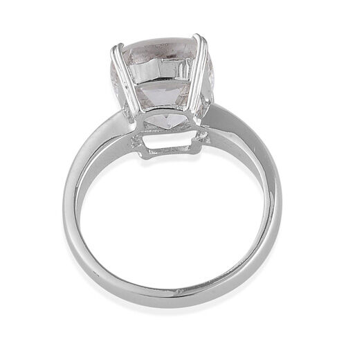 Golconda Diamond Topaz (Cush) Solitaire Ring in Platinum Overlay Sterling Silver  6.250 Ct.