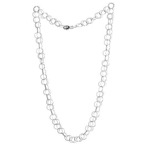 JCK Vegas Collection Sterling Silver Diamond Cut Open Circle Chain (Size 24), Silver wt 7.01 Gms.