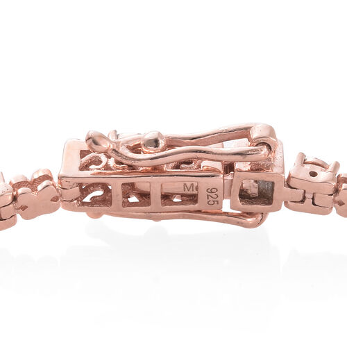 Diamond 0.18 Ct Silver XO Bracelet (Size 7.5) in Rose Gold Overlay, Silver wt 10.06 Gms.