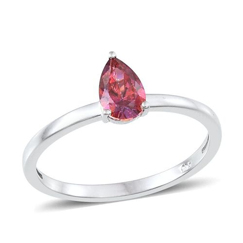 Set of 3 - J Francis Platinum Overlay Sterling Silver Solitaire Ring Made with Red, Yellow and Blue SWAROVSKI ZIRCONIA