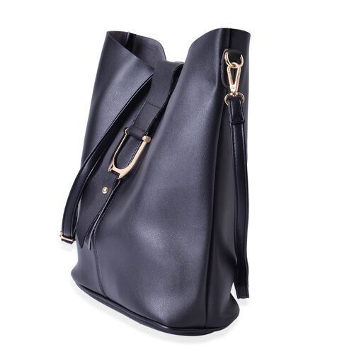 Set of 2 - Black Colour Large Crossbody Bag (Size 29x27x10 Cm) and Small Crossbody Bag (Size 21x20x3.5 Cm) with Adjustable and Removable Shoulder Strap