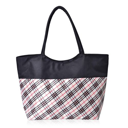Black, White and Multi Colour Checks Pattern Tote Bag (Size 52X38X32X15.5 Cm)