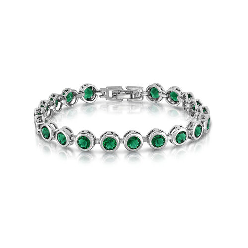 Designer Inspired AAA Simulated Diopside (Rnd) Bracelet (Size7) in Silver Bond