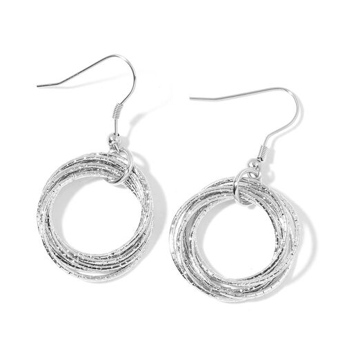 Designer Inspired - Circle Pendant with Chain (Size 28) and Hook Earrings in Silver Tone
