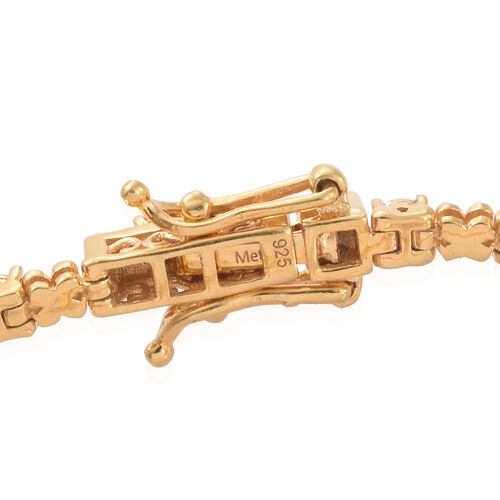 Diamond XO Bracelet in Gold Overlay Sterling Silver Size 7.5
