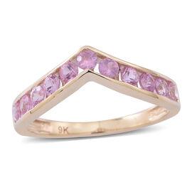 9K Yellow Gold AAA Pink Sapphire (Rnd) Wishbone Ring 1.250 Ct.