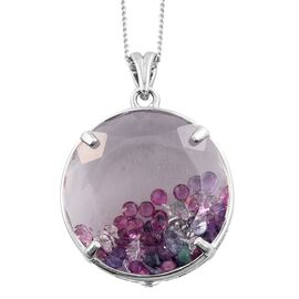 GP Brazilian Quartz (Rnd), African Ruby, Kanchanaburi Blue Sapphire, Natural Cambodian Zircon and Multi Gem Stone Filled Pendant With Chain in Platinum Overlay Sterling Silver 26.000 Ct.