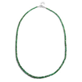 Kagem Zambian Emerald (Rnd) Necklace (Size 18 with Half inch Extender) in Rhodium Plated Sterling Silver 50.000 Ct.