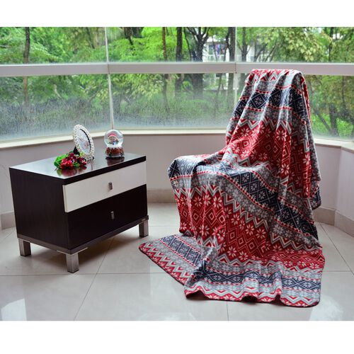 Superfine Printed Fleece Blanket (Size 200x150 Cm) Grey, Red and Multi Colour Floral Pattern
