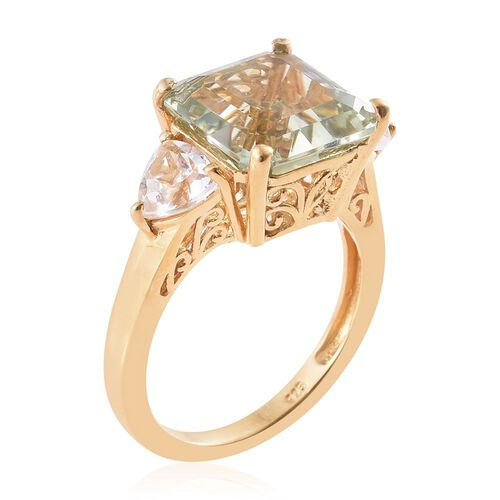 ASSCHER CUT Green Amethyst and White Topaz Ring in 14K Gold Overlay Sterling Silver 9.000 Ct.