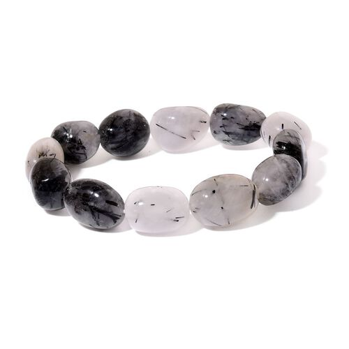 Black Rutile Quartz Stretchable Bracelet (Size 7.5) 200.000 Ct.