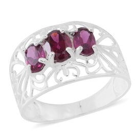 Designer Inspired-Rhodolite Garnet (Ovl) 3 Stone Ring in Sterling Silver 2.000 Ct.
