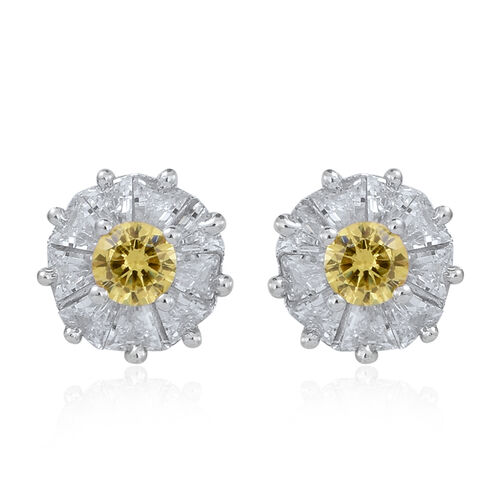ELANZA AAA Simulated Yellow Sapphire (Rnd), Simulated White Diamond Stud Earrings (with Push Back) in Rhodium Plated Sterling Silver