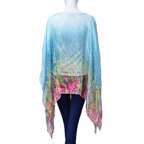 Black and Multi Colour Leopard, Floral and Feather Pattern Blue Colour Poncho (Size 135x70 Cm)