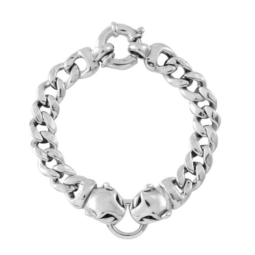 Sterling Silver Panther Head Curb Bracelet (Size 7.25), Silver wt. 17.80 Gms.