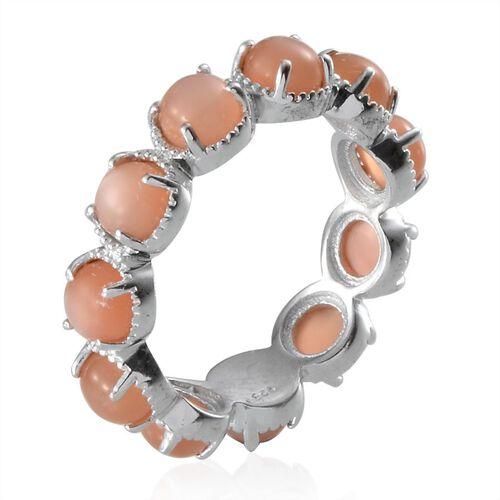 Mitiyagoda Peach Moonstone (Rnd) Full Eternity Ring in Platinum Overlay Sterling Silver 5.250 Ct.
