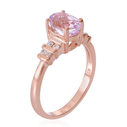 AAA Urucum Kunzite (Ovl 1.75 Ct), Natural Cambodian Zircon Ring in Rose Gold Overlay Sterling Silver 2.000 Ct.