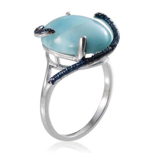 Larimar (Ovl 13.00 Ct), Blue Diamond Ring in Platinum Overlay Sterling Silver 13.020 Ct.