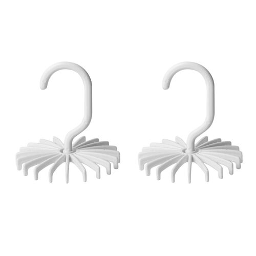 Set of 2 - White Colour 20 Hooks Tie and Scarf Hanger (Size 12x11 Cm)