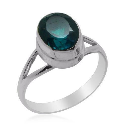 Royal Bali Collection Capri Blue Quartz (Ovl) Solitaire Ring in Sterling Silver 2.850 Ct.