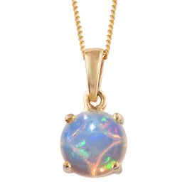 Ethiopian Welo Opal (Rnd) Solitaire Pendant with Chain in 14K Gold Overlay Sterling Silver 1.250 Ct.