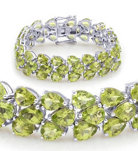 Hebei Peridot (Pear) Bracelet (Size 7.5) in Rhodium Plated Sterling Silver 50.000 Ct.