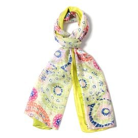 Designer Inspired- 100%  Mulberry Silk Rainbow Colour Floral Pattern Scarf (Size 175x53 Cm)