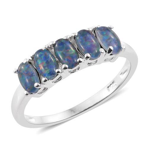 Australian Boulder Opal (Ovl) 5 Stone Ring in Sterling Silver