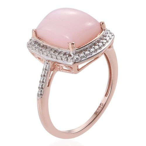 Peruvian Pink Opal (Cush) Solitaire Ring in Rose Gold Overlay Sterling Silver 3.000 Ct.