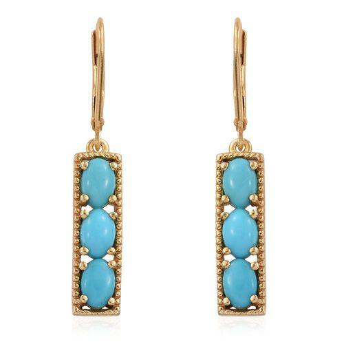 Sleeping Beauty Turquoise 2.50 Carat Silver Lever Back Earrings In Gold Overlay