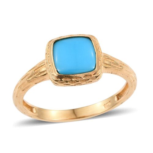 Arizona Sleeping Beauty Turquoise (Cush) Solitaire Ring in 14K Gold Overlay Sterling Silver 1.250 Ct.