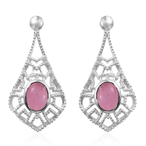Designer Inspired-Pink Jade (Ovl) Earrings in Sterling Silver 1.750 Ct. Silver wt 3.41 Gms.
