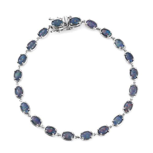 Australian Boulder Opal (Ovl) Bracelet (Size 7.5) in Platinum Overlay Sterling Silver 7.000 Ct.