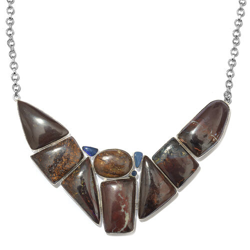 One Off A Kind- Boulder Opal Rock and Opal Double Necklace (Size 18 with 1 inch Extender) in Sterling Silver 256.550 Ct. Silver wt. 30.89 Gms.