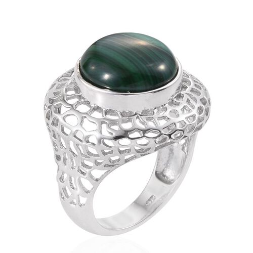 Malachite (Rnd) Ring in Platinum Overlay Sterling Silver 12.500 Ct.