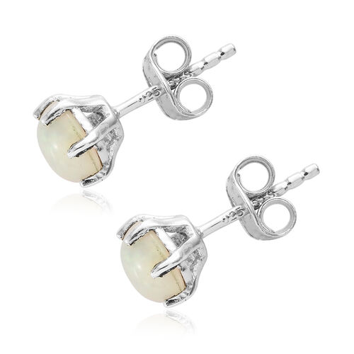 Ethiopian Welo Opal Stud Earrings (with Push Back) in Platinum Plated Silver 1.25 Ct.