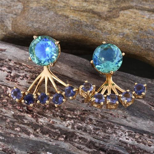 Peacock Quartz (Rnd), Iolite Jacket Earrings (with Push Back) in 14K Gold Overlay Sterling Silver 9.750 Ct.