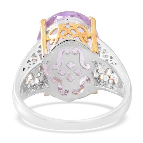 AAA Rose De France Amethyst (Ovl) Ring in Rhodium and Gold Overlay Sterling Silver 11.500 Ct.
