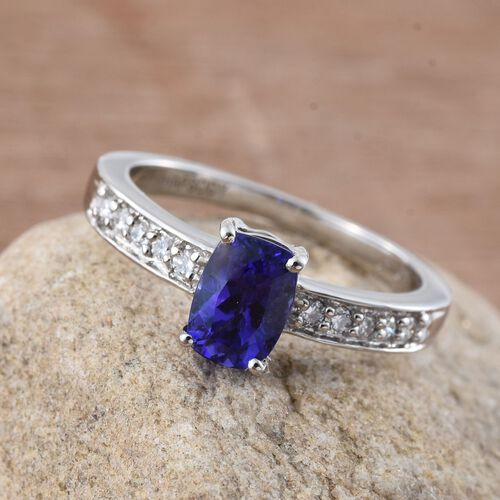 RHAPSODY 950 Platinum AAAA Tanzanite (Cush 1.00 Ct), Diamond (VS/E-F) Ring 1.150 Ct.