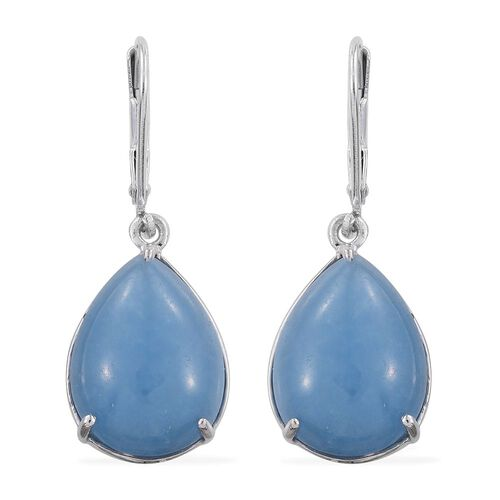 Blue Jade (Pear) Lever Back Earrings in Platinum Overlay Sterling Silver 19.000 Ct.