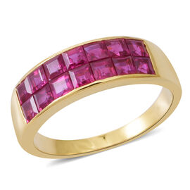 ILIANA 18K Yellow Gold AAAA Burmese Ruby (Princess Cut Half Eternity Band Ring Invisible Setting 3.000 Ct, Gold wt 5.60 Gms.