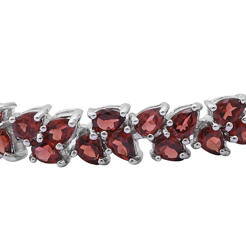 AAA Mozambique Garnet (Pear) Bracelet (Size 7.5) in Rhodium Overlay Sterling Silver 17.000 Ct. Silver wt 14.00 Gms.