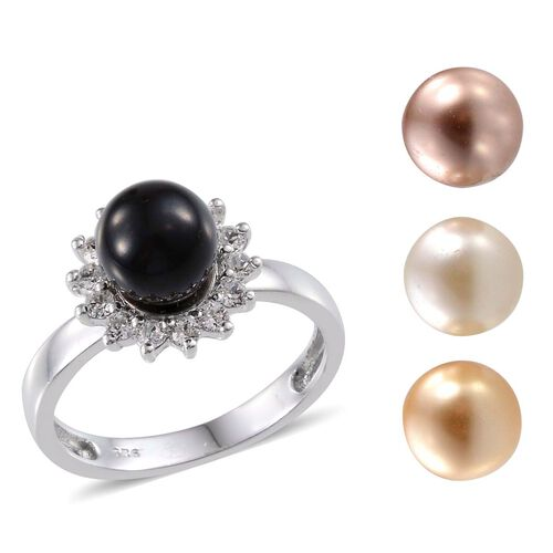 Crystal from Swarovski - Mystic Black Pearl Crystal (Rnd), Gold Pearl, Cream Pearl, Rose Pearl and White Austrian Crystal Interchangeable Ring in Platinum Overlay Sterling Silver 12.750 Ct.