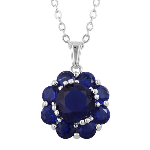 AAA Simulated Blue Sapphire Flower Pendant with Chain (Size 22) and Stud Earrings in Silver Tone